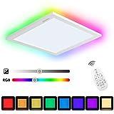 Albrillo 20W RGB LED Deckenleuchte Panel, 7 Lichtfarben & Warmwei Dimmbar Deckenlampe, inkl....