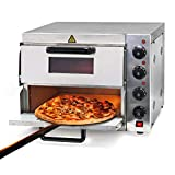 Wiltec 2-Etagen Pizza-Backofen 3000W mit Schamottstein für Pizza wie aus dem Steinofen Pizzaofen...