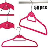 LHY SAVE 50 Stck samt Kleiderbgel mit Haken Anti-Rutsch Anzugbgel Garderobenbgel mit Zwei...