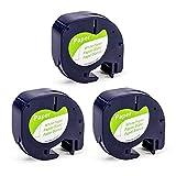 Airmall kompatible Etikettenband als Ersatz für Dymo Letratag 12mm x 4m Papier Etikettenband 91220...