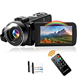Videokamera Camcorder Full HD 2.7K 42MP Camcorder 18X Digitalzoom mit LED Fülllicht Digitalkamera...
