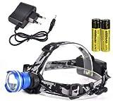 SHALU T6 LED-Scheinwerfer 3-Modus-Zoom-Scheinwerfer Hochleistungs-3000-lm-Stirnlampe 18650...