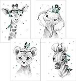 Lalelu-Prints 4er Set Boho mint grau Bilder Kinderzimmer Deko Poster Junge Mädchen DIN A4 Indianer...