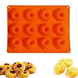 YYXLL 2 Stück Orange Mini Gugelhupfform Silikon Mini Bundt Gugelhupf Backform 12Er Mit...