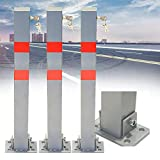 3 Stücke Parkplatzsperre Klapppfosten Rote Streifen Absperrpfosten Rechteck aus Stahl 5x5x65 cm