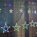 Dicstorets 138LEDs Vorhang Lichterkette Fairy Eiszapfen 6 Groß 6 Klein Stars Weihnachten Hochzeit...
