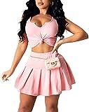 Womens Bodycon Clubwear Kleid Set-Krawatte Knoten Vor Ernte Tank Top Hohe Taille Falten Mini Rock...