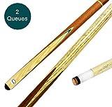 store HD Billard Queues Set 2 x Billard Queue aus edlem Holz 2-teilig - 147 cm langer Billiard Queue...