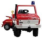 Rolly Toys Fire Unimog Feuerwehr (Tretauto 3 – 8 Jahre mit Anhänger, Spritze, Blinklicht,...
