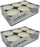 Hillfield® 24 Maxi Teelichter im Alubecher, Weiß, Maxilicht, Jumbo Teelichter, ohne Duft, Kerzen,...