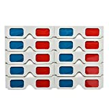 Chowcencen 10-teiliges Set Universal Papier Anaglyphenbrille 3D Brille Rot Blau Pappe Film Game DVD...