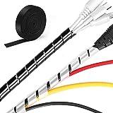 MOSOTECH Kabelmanagement System, 2x5.2m Spiral-Kabelschlauch in Schwarz und Wei + 1x3.1m Klett...