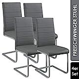 ArtLife Freischwinger Stuhl Vegas 4er Set | Kunstleder Bezug + Metall Gestell | 120 kg belastbar |...
