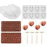 LABOTA 3D Diamant Herz Formen Silikonform, 3D Diamant Herz Kuchen Form Herz, 8 Gitter Silikon...