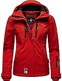 Marikoo Damen Softshell-Jacke wasserdichte Outdoorjacke mit Kapuze Kleinezicke Red Gr. XL