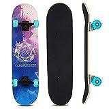 Sumeber Skateboard Komplettes 31 Zoll Double Kick Skateboard mit Blinklicht Räder Skateboards für...