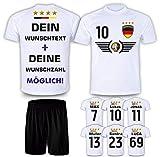 Deutschland Trikot Set 2021 mit Hose GRATIS Wunschname + Nummer im EM WM Weiss Typ #DE5th -...