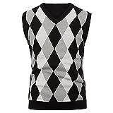 Herren Pullover Retro V-Ausschnitt Strickweste Ärmellos Sweater Plaid Print Gr. Medium, Schwarz