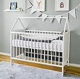 Babybett Beistellbett Kinderbett und Hausbett mit Dach und Wimpelkette120x60 weiß,...