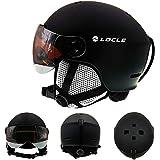 IAMZHL Skihelm Ultraleichter Herren Damen Skihelm Outdoor Sport Snowboard/Skateboard Helm-Black...