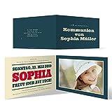 30 x Kommunion Einladungskarten individueller Text und Foto DIN A6 Klappkarten - Liebesglück