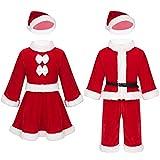 ranrann Baby Weihnachts Outfits Weihnachtsmann Langarm Kleid/Shirts Lange Hose Hut mit Weiem Saum...