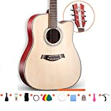 Akustikgitarre 41 Zoll Gitarrenklassiker Furnier Fichte Holzgitarre Starter-Kit Mit Leistungstasche...