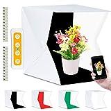 Fotobox, Fotostudio Lichtzelt 40x40 mit 3 Lichtfarben 140 LED Mini Mobiles Tragbare Tischplatte...