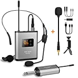 UHF Wireless Lavalier Microphone System with 48 Frequencies, Lavalier Lapel MIC/Headset MIC/Stand...