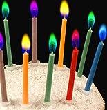 Geburtstagskerzen mit Tortenaufsatz - Happy Birthday Kerzen - Bunte geflammte Kerzen mit...