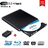 Externes Blu Ray DVD Laufwerk,Externe 3D Blu Ray DVD Brenner,USB 3.0 Tragbare Ultra Slim BD/CD/DVD...