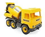 WADER 32124 Middle Truck Betonmischer mit drehbarer Mischtrommel, ab 3 Jahren, ca. 43 cm, gelb,...