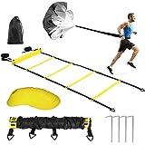 Koordinationsleitern für Fußball,Sport Speed Training Set - 2 Agility Leitern, 12 Scheibenkegel,...