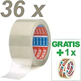 Tesa 36 Rollen Paketklebeband (66m, 50mm) transparent Paketband + Gratis Tesafilm [15mm X 10m]