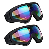 Vicloon Skibrille, 2 Stück Ski Snowboard Brille, UV-Schutz Goggle, Motocross Brille Helmkompatible,...