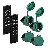 SEC24 - Funksteckdosen Set 4+2, für den Außenbereich/Outdoor, 2300 Watt, Plug & Play Funkschalt...