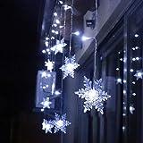 94 LED Schneeflocke Lichterketten, Lichtervorhang Lichter Weihnachtsbeleuchtung mit 8 Flimmer-Modi...