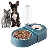 ECOSCO Doppelnapf-Set für Hunde und Katzen, abnehmbarer Edelstahlnapf, Spenderflasche, Katzennapf,...