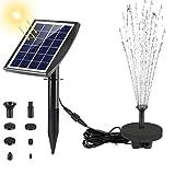 Fostoy Solarpumpe Teichpumpe, Solar Springbrunnenpumpe 2W Panel Mit Erdungsstecker, Solar...