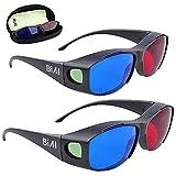 BIAL 3D-Brille mit Brillenetui, Cyanan-Anaglyphe, einfacher Stil, 3D-Brille, 3D-Filmspiel, 2 Stück