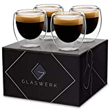 GLASWERK Design Espressotassen (4 x 70ml) - doppelwandige Espressogläser aus Borosilikatglas -...