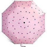 JFCXBSSL Sonnenschirm, 100 cm, rosa, Aluminiumlegierung, Liebesmuster, Sonnenschirm, dreifach...