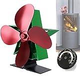 Kaminventilator Ofenventilator Lüfter mit 4 Blättern Geräuscharmer Betrieb Hitzebetrieben für...