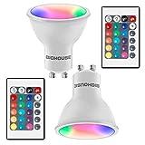 GU10 LED RGBW Lampe, 4W ersetzt 30W, 300 Lumen, GU10 LED Dimmbar Farbwechsel Farbige Birne, RGBW...