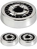 3 Aschenbecher Gluttöter Silber Rund 14cm - 21 Ablagestellen - Spülmaschinenfest - Rostfrei