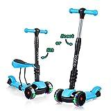 YOLEO 3-in-1 Kinder Roller Scooter mit Abnehmbarem Sitz, LED große Räder, Höheverstellbare Lenker...