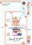 Jusco Briefpapier-Set Eisbär Eisbecher Erdbeere mit passenden Umschlägen von Sanrio