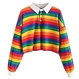 Myfilma Womens Color Stripe Button Langarm Pullover Hoodies Sweatshirt Tops Bluse Umlegekragen...