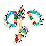 4 Stück lebhafte Farben Regenbogen-Griffe Holzglocken Jingle Stick Shaker Rassel 5/10 Jingle Bells...