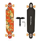 WIN.MAX Longboard Skateboard, 7-lagigem Ahornholz Cruiser komplettes Board, mit ABEC-11 Kugellagern...